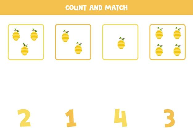 Conta tutti gli alveari e abbina i numeri giusti. gioco di matematica per bambini.