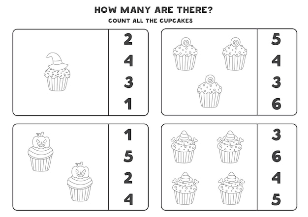 Conta tutti i cupcakes di halloween in bianco e nero e cerchia le risposte corrette. gioco di matematica per bambini.
