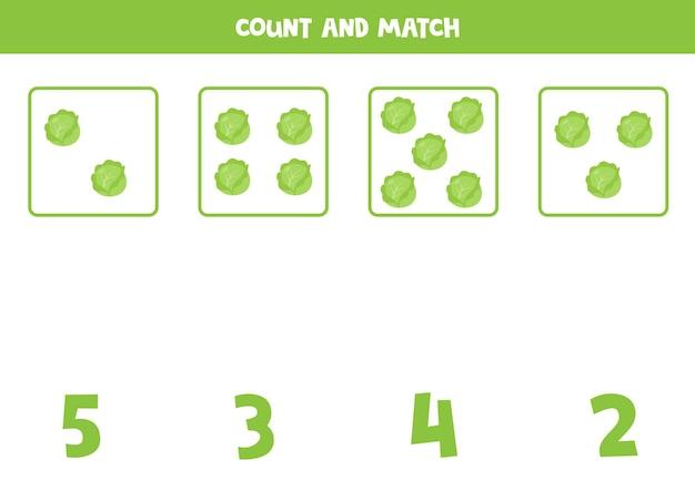 Contare tutti i cavoli e abbinare con la risposta corretta. gioco di matematica educativo per bambini.