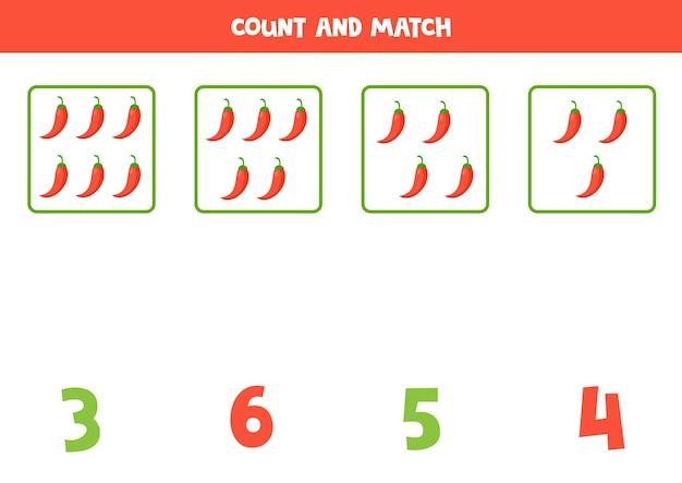 Contare tutti i peperoni rossi dei cartoni animati e abbinare con la risposta giusta. gioco di matematica per bambini.