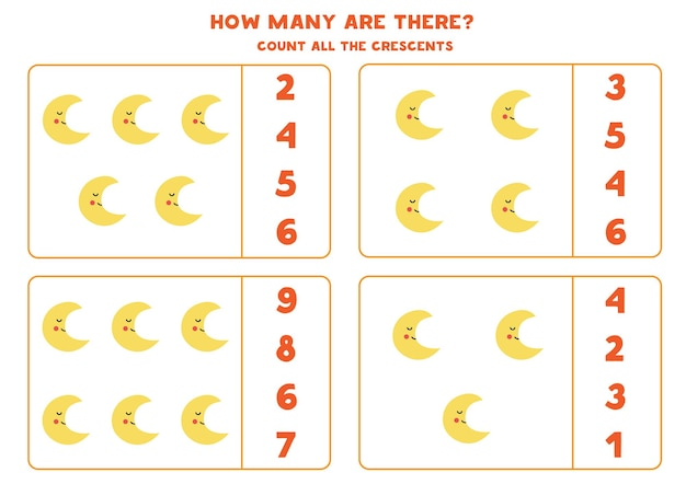 Contare tutte le mezzelune e cerchia le risposte corrette. gioco di matematica per bambini.