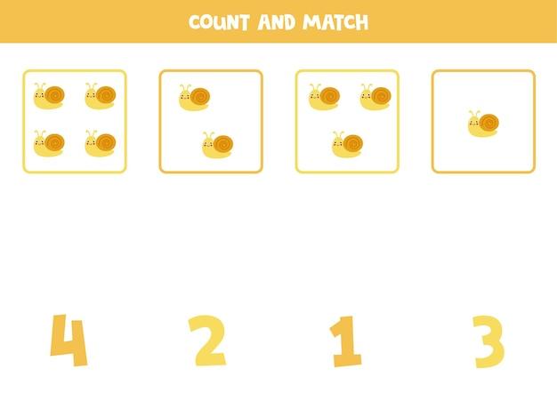 Conta tutte le lumache carine e abbina i numeri giusti. gioco di matematica per bambini. Vettore Premium