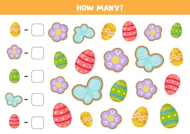 Conta tutti i biscotti e le uova di pasqua e scrivi le risposte corrette. gioco di matematica per bambini.
