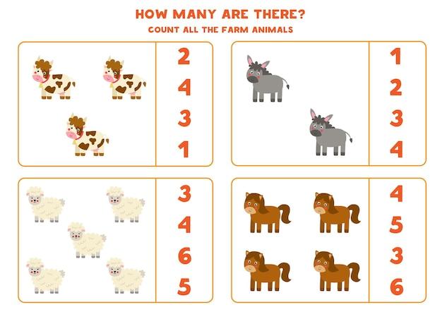 Conta tutti gli animali della fattoria e cerchia le risposte corrette. gioco di matematica per bambini.
