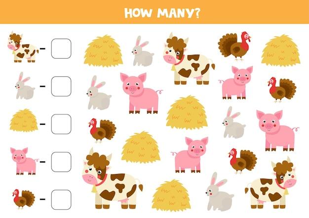 Conta tutti gli animali della fattoria e scrivi il numero nella casella. gioco di matematica per bambini.