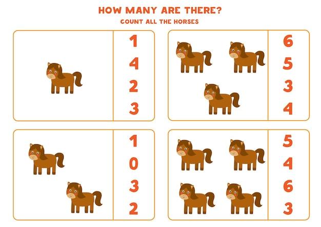 Conta tutti i cavalli della fattoria e cerchia le risposte corrette. gioco di matematica per bambini.