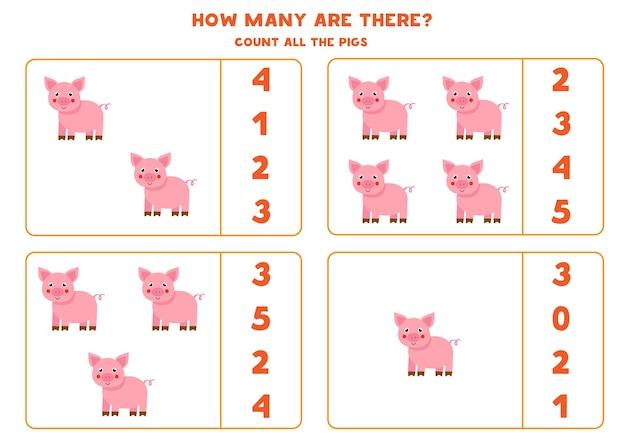 Conta tutti i maiali della fattoria e cerchia le risposte corrette. gioco di matematica per bambini.