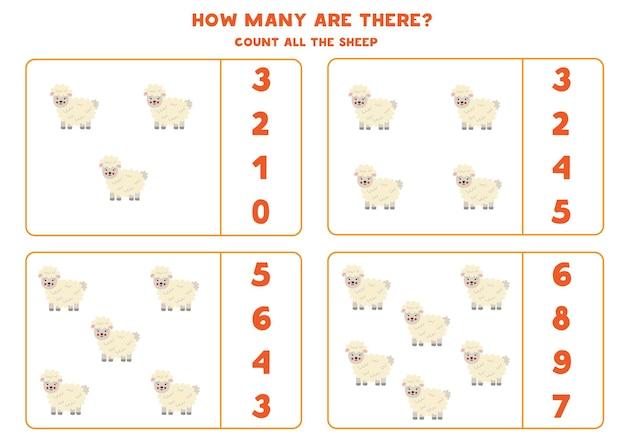 Contare tutte le pecore della fattoria e cerchia le risposte corrette. gioco di matematica per bambini.