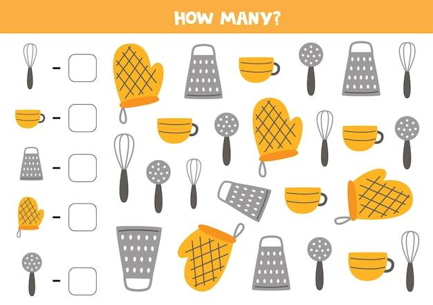 Contare tutti gli utensili da cucina e scrivere il numero nella casella. gioco di matematica per bambini.