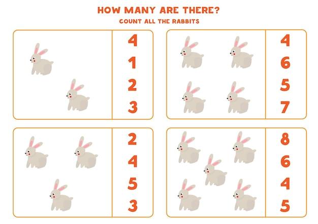 Conta tutti i conigli e cerchia le risposte corrette. gioco di matematica per bambini.