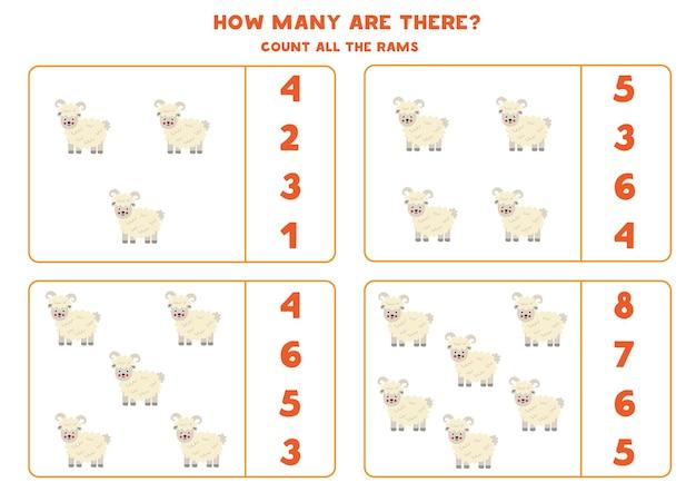 Conta tutti gli arieti e cerchia le risposte corrette. gioco di matematica per bambini.