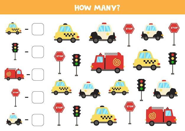 Contare tutti i mezzi di trasporto e scrivere il numero nella casella. gioco di matematica.