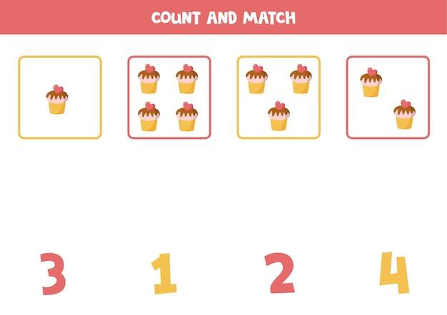 Conta tutti i cupcakes di san valentino gioco di matematica educativo per bambini