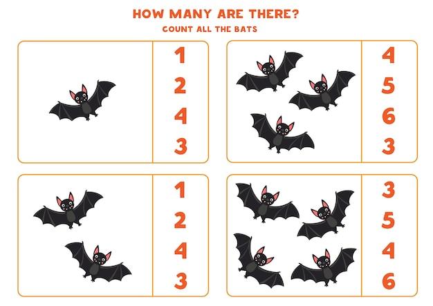 Conta tutti i pipistrelli vampiri e cerchi la risposta giusta gioco di matematica educativo