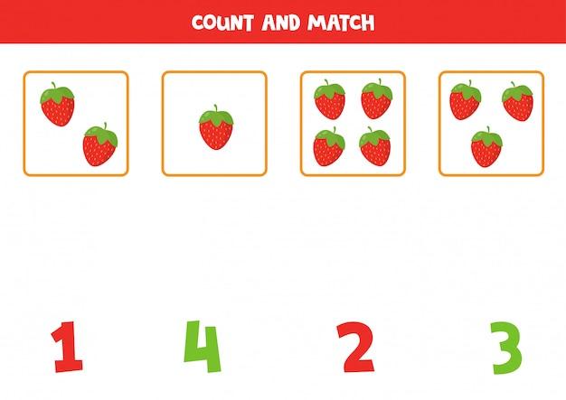 Conta la quantità di fragole di cartone animato e abbina i numeri giusti. gioco di matematica educativo per bambini. foglio di lavoro stampabile numeri di apprendimento.