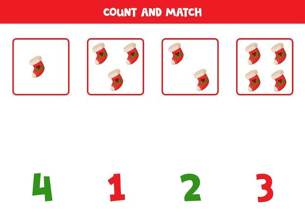 Conta i calzini di natale e abbina i numeri. gioco di matematica educativo per bambini. Vettore Premium