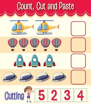Conta, taglia e incolla foglio di lavoro di matematica per bambini
