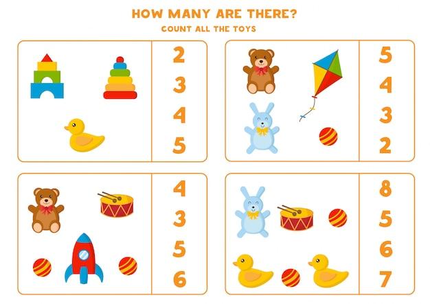 Conta quanti giocattoli ci sono. gioco di matematica per bambini.