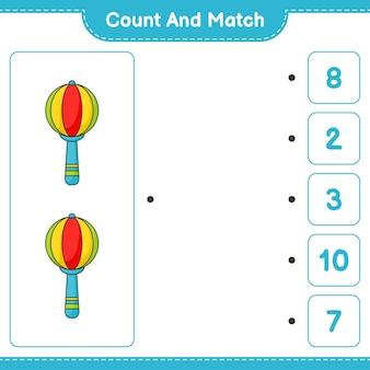 Conta e abbina, conta il numero di baby rattle e abbina con i numeri giusti. gioco educativo per bambini, foglio di lavoro stampabile, illustrazione vettoriale