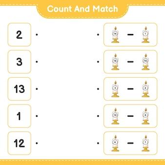 Conta e abbina conta il numero di candela e abbina con i numeri giusti
