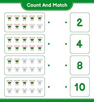 Conta e abbina, conta il numero di bastoncini di zucchero con il nastro e abbina i numeri giusti. gioco educativo per bambini