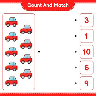 Conta e abbina, conta il numero di auto e abbina con i numeri giusti. gioco educativo per bambini, foglio di lavoro stampabile, illustrazione vettoriale