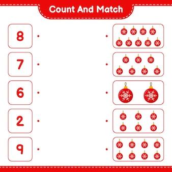 Conta e abbina, conta il numero di palle di natale e abbina i numeri giusti. gioco educativo per bambini