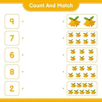 Conta e abbina, conta il numero di campane di natale e abbina i numeri giusti. gioco educativo per bambini