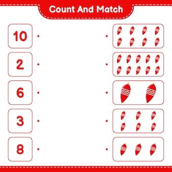 Conta e abbina, conta il numero di luci di natale e abbina i numeri giusti. gioco educativo per bambini