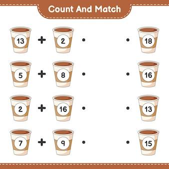 Conta e abbina conta il numero di coffee cup e abbina con i numeri giusti