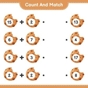 Conta e abbina, conta il numero di cookie e abbina i numeri giusti. gioco educativo per bambini