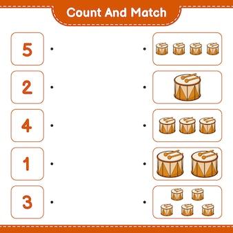 Conta e abbina, conta il numero di drum e abbina con i numeri giusti. gioco educativo per bambini, foglio di lavoro stampabile, illustrazione vettoriale