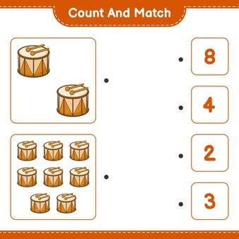 Conta e abbina conta il numero di drum e abbina con i numeri giusti