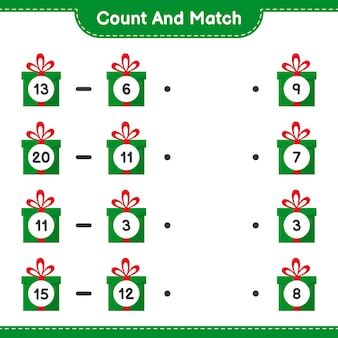 Conta e abbina, conta il numero di confezioni regalo e abbina i numeri giusti. gioco educativo per bambini