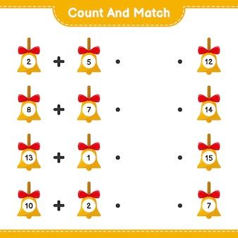 Conta e abbina, conta il numero di campane di natale d'oro e abbina i numeri giusti. gioco educativo per bambini