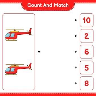 Conta e abbina, conta il numero di elicotteri e abbina con i numeri giusti. gioco educativo per bambini, foglio di lavoro stampabile, illustrazione vettoriale