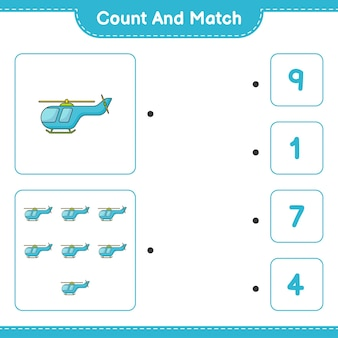 Conta e abbina conta il numero di elicotteri e abbina con i numeri giusti