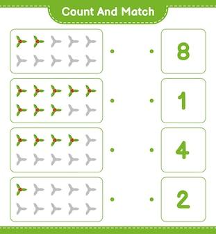 Conta e abbina, conta il numero di bacche di agrifoglio e abbina i numeri giusti. gioco educativo per bambini