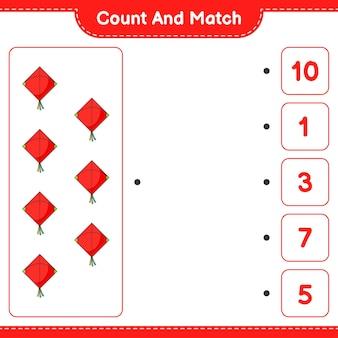 Conta e abbina, conta il numero di kite e abbina con i numeri giusti. gioco educativo per bambini, foglio di lavoro stampabile, illustrazione vettoriale