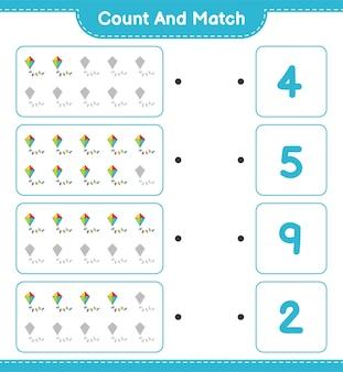 Conta e abbina, conta il numero di kite e abbina con i numeri giusti.