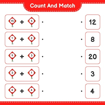 Conta e abbina, conta il numero di kite e abbina con i numeri giusti