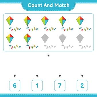 Conta e abbina conta il numero di kite e abbina con i numeri giusti