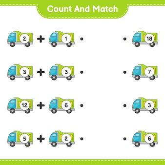 Conta e abbina, conta il numero di camion e abbina con i numeri giusti. gioco educativo per bambini, foglio di lavoro stampabile
