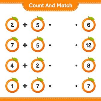 Conta e abbina, conta il numero di arancioni e abbina i numeri giusti. gioco educativo per bambini, foglio di lavoro stampabile