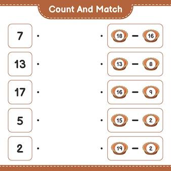 Conta e abbina conta il numero di torta e abbina con i numeri giusti gioco educativo per bambini