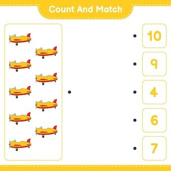 Conta e abbina, conta il numero di aereo e abbina con i numeri giusti. gioco educativo per bambini, foglio di lavoro stampabile, illustrazione vettoriale