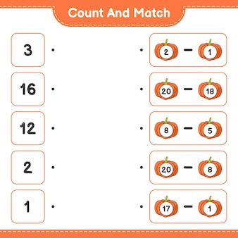 Conta e abbina conta il numero di zucca e abbina con i numeri giusti