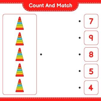 Conta e abbina, conta il numero di pyramid toy e abbina i numeri giusti. gioco educativo per bambini, foglio di lavoro stampabile, illustrazione vettoriale