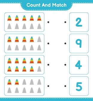 Conta e abbina, conta il numero di pyramid toy e abbina i numeri giusti.