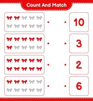 Conta e abbina, conta il numero di nastri e abbina i numeri giusti. gioco educativo per bambini